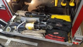 MOC Combi tool, two long hydraulic Rams and other miscellaneous rescue equipment are located in the driver side rear compartment as well. Again, these tools must be connected to hoses and a pump provide hydraulic pressure.